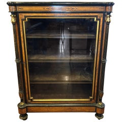 19th Century Victorian Walnut Inlay English Display Cabinet, 1870s