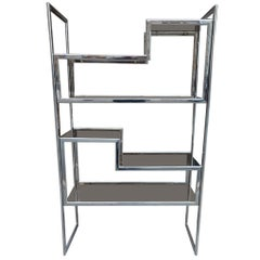 Maison Jansen Chrome Smokey Glass 1970s Shelving Unit