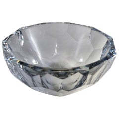 Large Clear Faceted Crystal Bowl