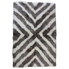 Designer Patchwork Sheepskin Area Rug Arrow Stripe Made in Australia