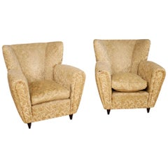 Borsani 20th Century Damask Velvet Pair of Italian Design Armchairs, 1950