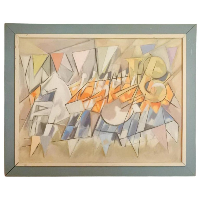 Carnival Parade Cubist Painting, 1956 Signed For Sale