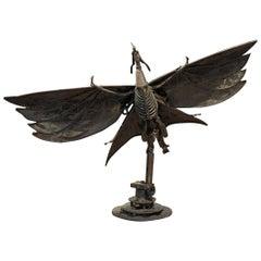 Folk Art Dragon Metal Turning Sculpture, circa 1960