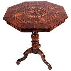 19th Century Walnut Octagonal Shaped Inlaid Italian Rolo/Coffee Table