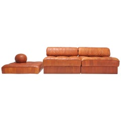 Cognac Leather Patchwork DS 88 De Sede Sectional Sofa