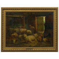 Painting of Sheep in Barn by Cornelis Van Leemputten, Belgian, 1841-1902