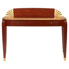 Jules Leleu, Lady's Writing Desk in Mahogany Wood and Golden Leaves, circa 1925