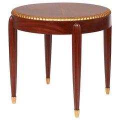 Jules Leleu, Pedestal Table in Mahogany Wood and Golden Leaves, circa 1925