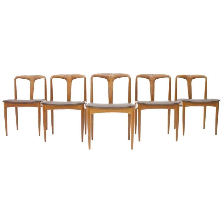 Set of Five Teak Dining Chairs Juliane by Johannes Andersen Denmark For Sale