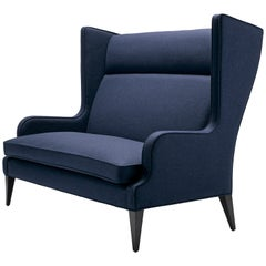 Contemporary Alae Wing Sofa in Navy Wool with Black Walnut Legs