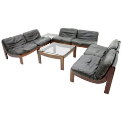 Large Modular Lounge Living Room Set in Mahogany and Black Leather, 1970s Sofa