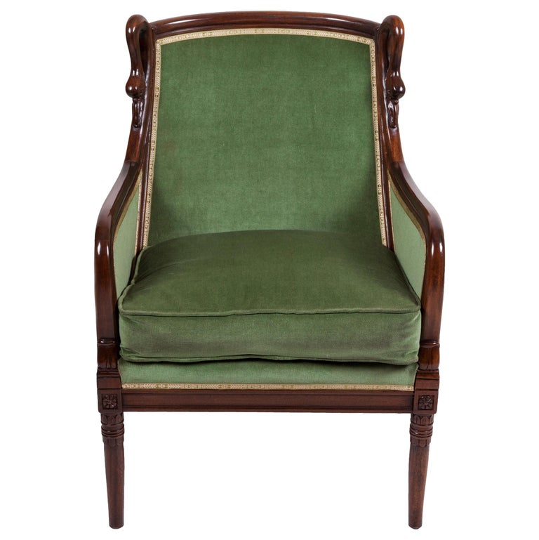 20th Century Empire Mahogany Pair of French Armchairs For Sale