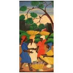 Loccas Joseph, Haitian Artist, Naivist School, Oil on Board, 1974 Town Women