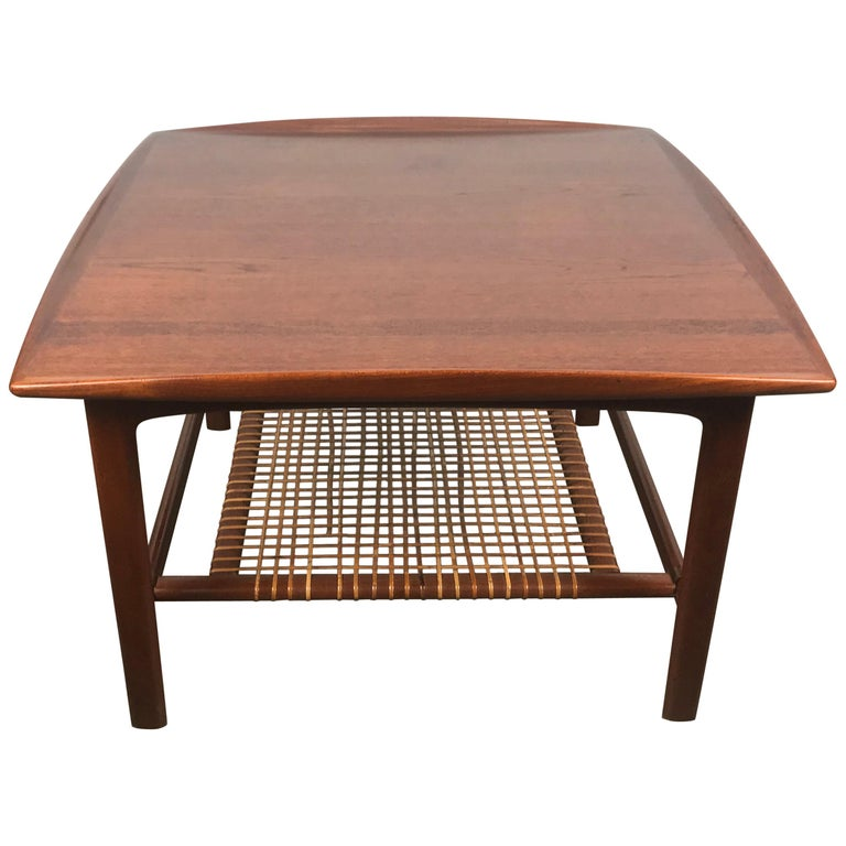 Classic Scandinavian Teak and Cane Occasional Table by Folke Ohlsson, Sweden For Sale