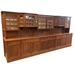 Exceptional Very Large Serving Furniture in Pitchpin, circa 1900
