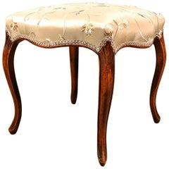 Walnut Serpentine Stool in the French Manner, circa 1780