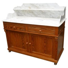19th Century French Pitch Pine Cupboard Sink with Carrara Marble Top, 1890s