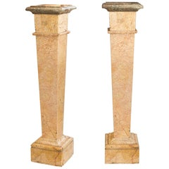 Pair of Marble Plynths in ''Rose De Brignoles'', Early 20th Century