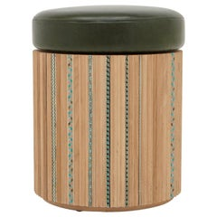 Funquetry Pleated Stool in oak with traditional marquetry patterns. Leather seat