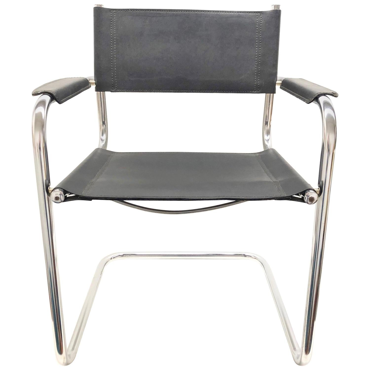 Black Leather Chrome Plated Tubular Steel Cantilever Style Chair German, 1970s