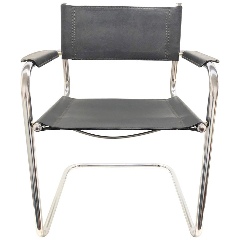 Black Leather Chrome Plated Tubular Steel Cantilever Style Chair German, 1970s For Sale