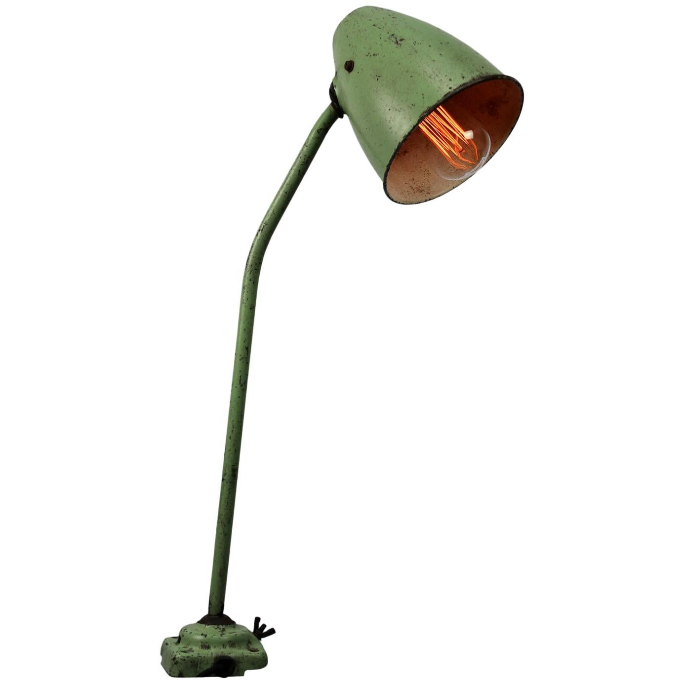 Green Metal Vintage Industrial Work Table Desk Lights (2x)