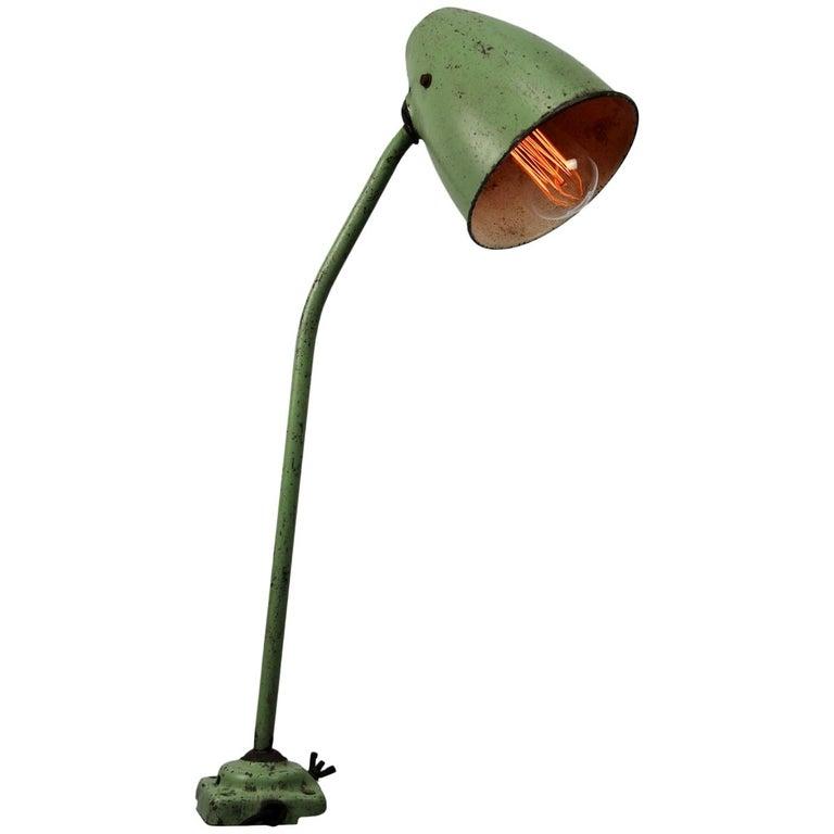 Green Metal Vintage Industrial Work Table Desk Lights (2x) For Sale