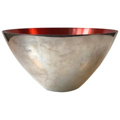 Large Danish Modernist Bowl in Silver Plate and Enamel by DGS, 1950s