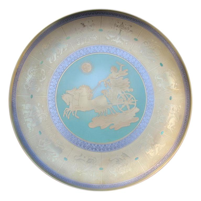Dish in Pure Gold Porcelain with Decorations Zodiacal Signs Arte Morbelli Gold For Sale