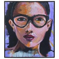 Acryl auf Leinwand Gesicht einer Frau mit Brille Sizilianischer Künstler, 2008