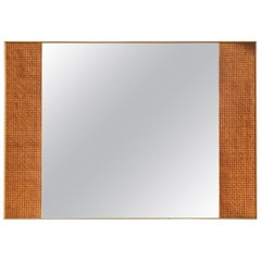 Rectangular Italian Mirror with Vienna Straw 1950s Design Golden Aluminum Frame