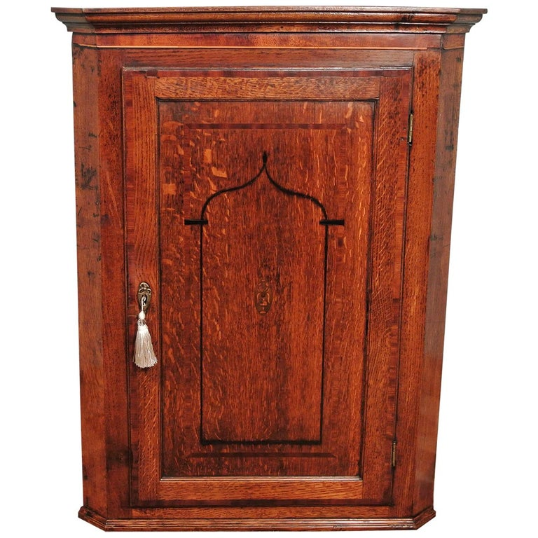 George Iii Oak Corner Wall Hanging Cabinet Circa 1780 For