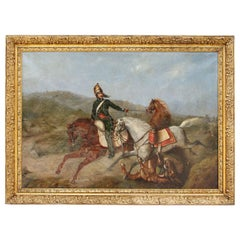 Oil on Canvas, Military Rider During a Battle, circa 1840