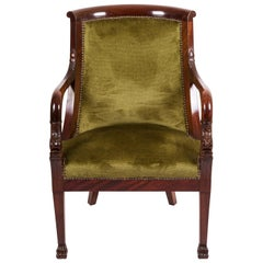 20th Century Empire Mahogany Pair of French Armchairs