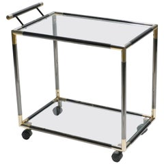 French Hollywood Regency Gunmetal Brass Bar Cart Maison Jansen Style, 1970s