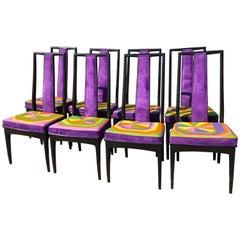 Elegant Set of Eight Ebony Pop Art Dining Chairs by John Stuart