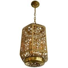 Large Pierced Karakusa Brass Japanese Asian Ceiling Pendant Light