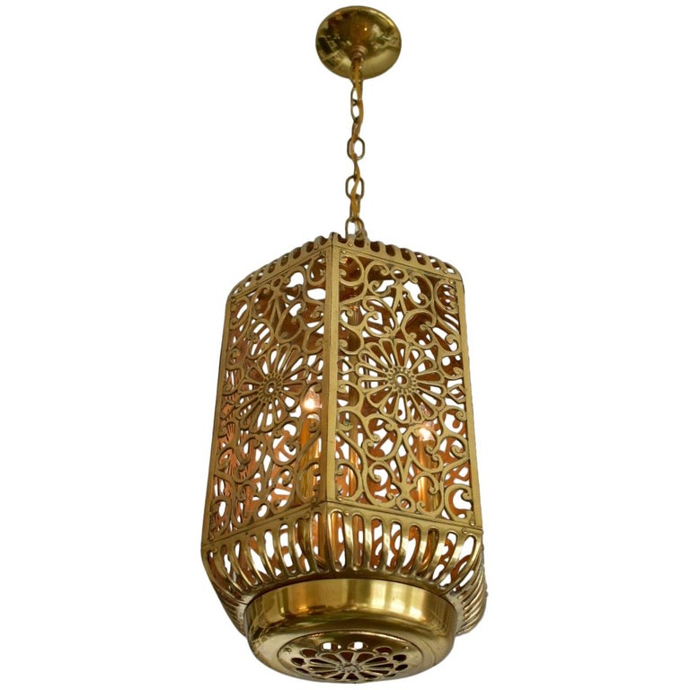 Large Pierced Karakusa Br Anese Asian Ceiling Pendant Light For