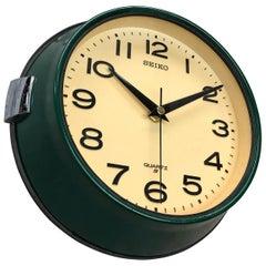1960s Dark Green Retro Seiko Vintage Industrial Antique Steel Quartz Wall Clock