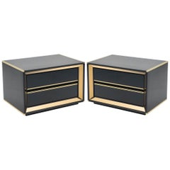 Italian Sandro Petti Black Lacquered Brass Mirrored Nightstands Tables, 1970s