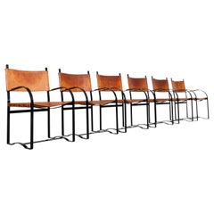 Scandinavian Modern Cognac Leather Dining Chairs Hunting Cabinet Style