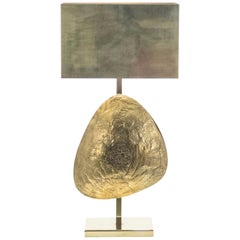 Large Belgian Willy Daro Table Lamp in Brass and Bronze, 1970s
