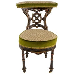 19th Century French Carved and Painted Smoking Chair