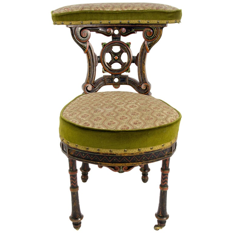 19th Century French Carved and Painted Smoking Chair For Sale