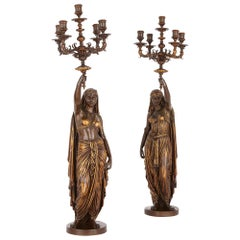 Two Orientalist Patinated and Gilt Bronze Figural Torchères by Barbedienne