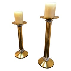 Chunky Brass and Chrome Karl Springer Style Mid-Century Modern Candlesticks Pair