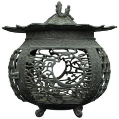 Japan Fine Antique Hand Cast Bronze Lantern with Exquisite Details Best in Class