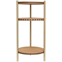 Funquetry Contour Table in oak and brass with Middle Eastern marquetry patterns