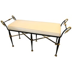 To Die for Gorgeous Neoclassical Swan Motif Black Iron and Brass Bench