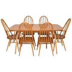 1960s Vintage Ercol Grand Windsor Dining Table and Six Chairs